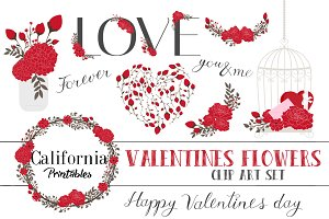 Valentines Flower ClipArt Set Part 1