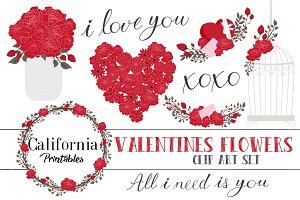 Valentines Flower ClipArt Set Part 2