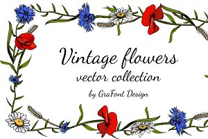 Vintage flowers vector collection