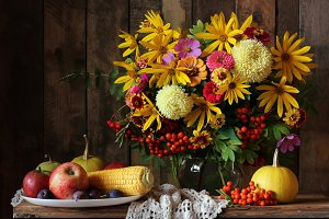 The flowers and fruits.