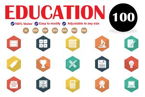 Educational Glyphs Flat Icons