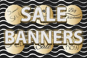 SALE Banners gold and black