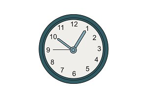 Wall clock illustration. Vector