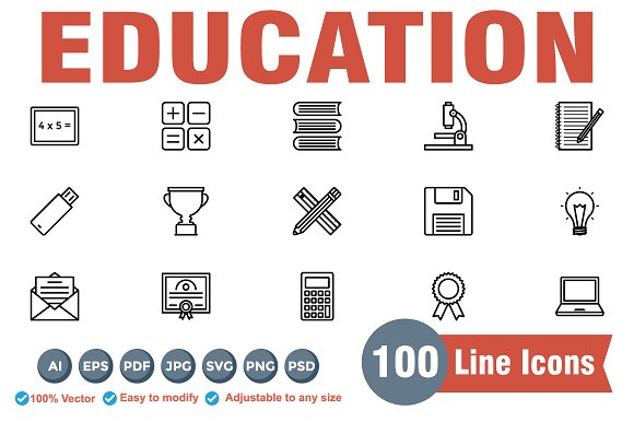 Educational Line Icons