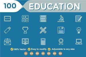Educational Line White Icon