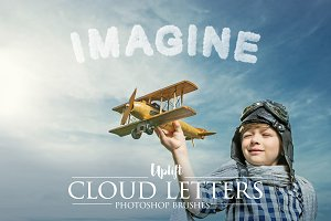 40 Cloud Letter Photoshop Brushes