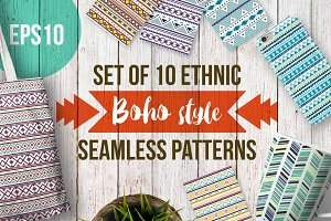 Set of 10 boho seamless patterns