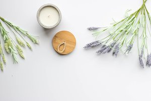 Lavender Sprigs with a Candle