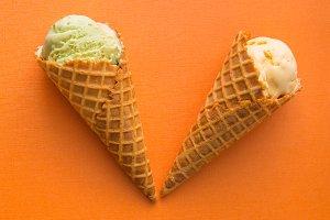 Waffle cones with gelato  ice cream