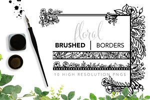Brushed Floral Borders