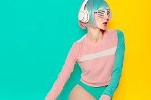 Pop Art. Vanilla color. Girl DJ