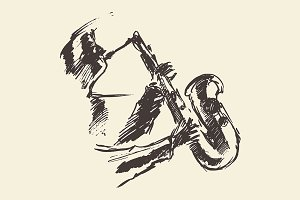 Man playing saxophone, sketch