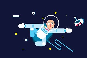Flat Design Spaceman Illustration