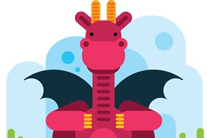 Flat Design Dragon