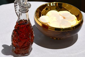 Communion Wafers and Red Wine