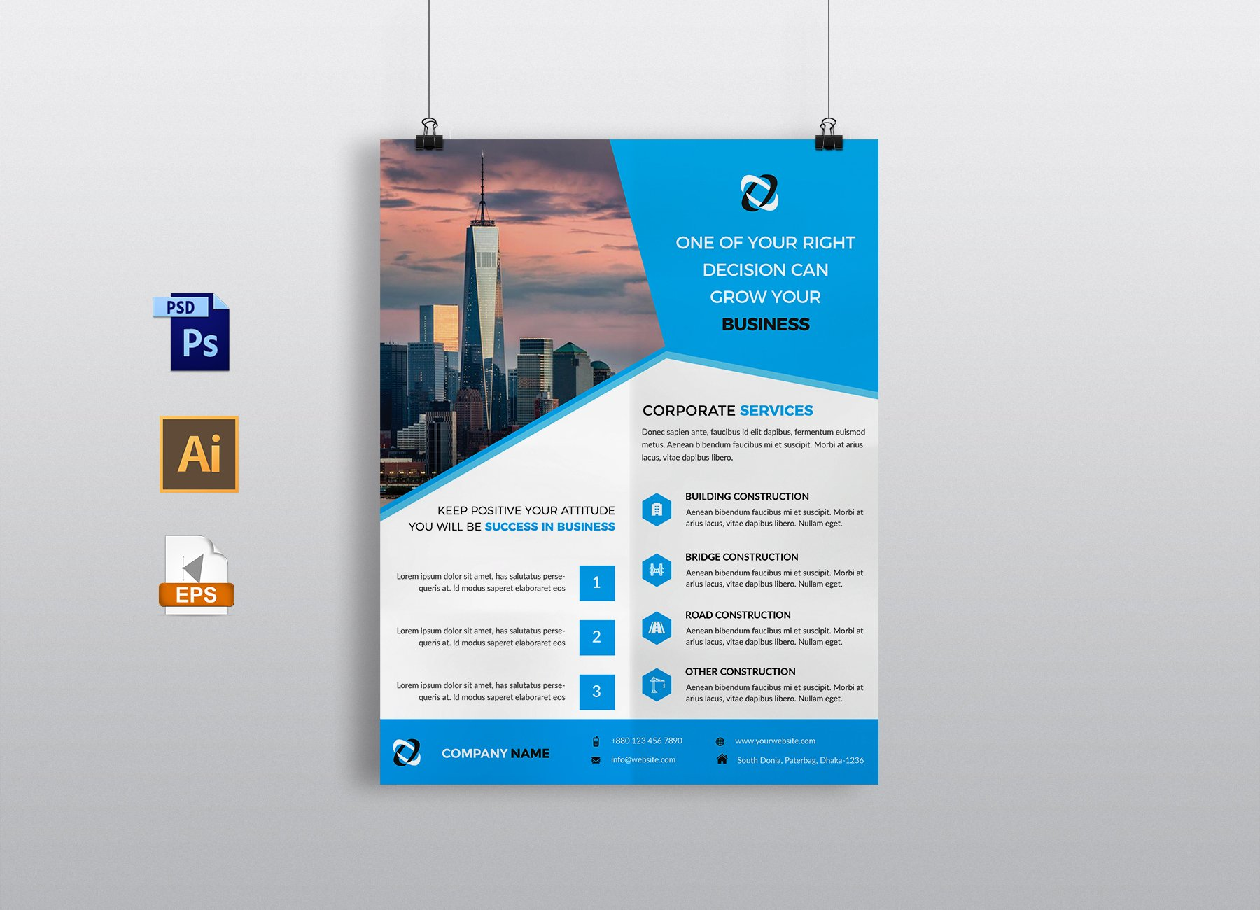 Construction flyer template flyer templates creative market wajeb