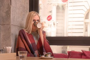 girl blond drinking cup tea cafe