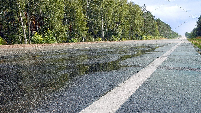Wet Road Highway With Mist Splash Photos Creative Market