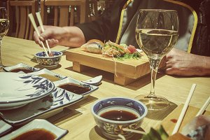 Japanese meal in a restaurant