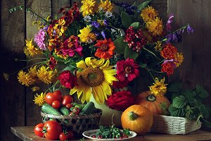 Bouquet and vegetables