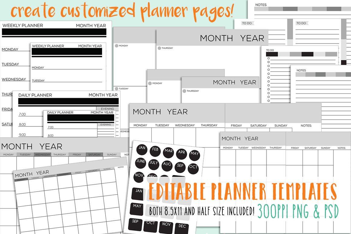 Editable Planner Page Templates ~ Illustrations ~ Creative Market