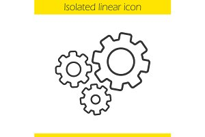 Cogwheels linear icon. Vector