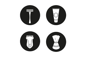 Shaving accessories. 4 icons. Vector