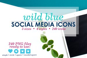 Bright Blue Social Media Icons Pack