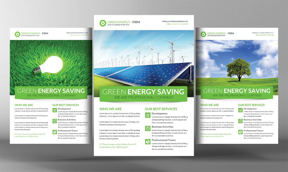 green energy flyer template flyer templates creative market. Black Bedroom Furniture Sets. Home Design Ideas