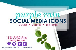 Purple Social Media Icons Pack