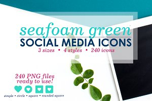 Seafoam Green Social Media Icon Pack