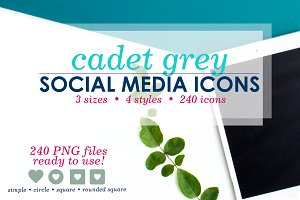 Cadet Grey Social Media Icons Pack