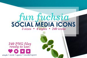 Fun Fushcia  Social Media Icons Pack