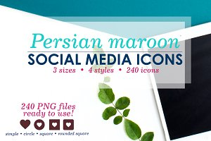 Maroon Social Media Icons Pack