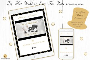 Top Hat Wedding Save The Date
