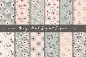 50% Off! Gray - Pink Digital Papers
