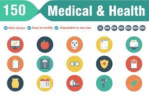 Medical & Health Flat Circle Icons