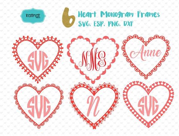 Valentine Monogram Frame Svg Illustrations Creative Market
