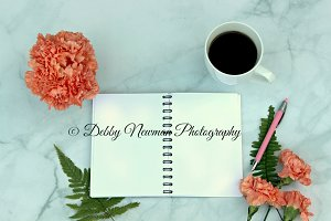 Carnations with Blank Notebook