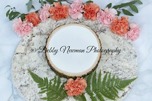 Carnations and Wood slice
