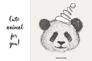 Panda with Christmas hat