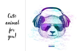 cool Panda with headphones