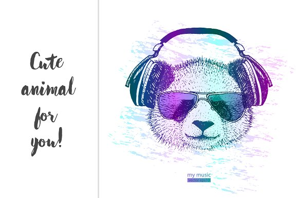 Cool Panda With Headphones Objects Creative Market