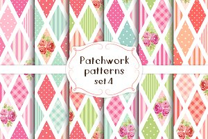 Patchwork seamless patterns set#4