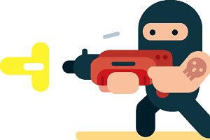 Flat Design Bank Robber Illustration