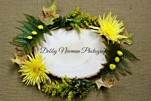 Wood slice-Yellow Floral & Berries