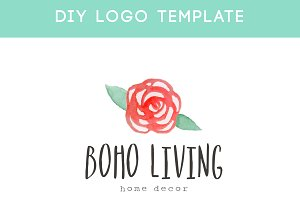 Boho Watercolor Rose Logo Template