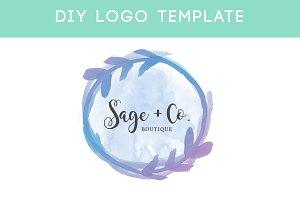 Watercolor Leaf Badge Logo Template