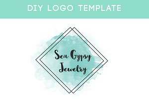 Mint Watercolor DIY Logo Template