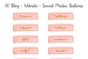 Pink Watercolor Blog Button Set